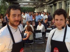 Simon Press (a sinistra) e Marco Tinti ( a destra) durante alla Chef Cup alla Terrazza di via Palestro a Milano