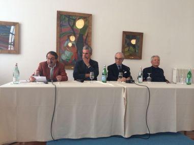 7 giugno 2014, dibattito al Monte Verità, da sinistra: Gabriele Eschenazi, Pietro Leemann, Gualtiero Marchesi, Marco Ferrini